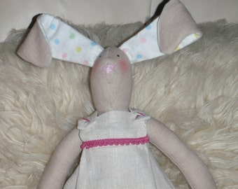HARE with Pink Trim Outfit/Bunny Rabbit Linen Fabric Doll One of a Kind Handmade Sweet