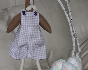 Hen Fabric Doll With 3 Fabric Eggs Handmade One of a Kind Purple and White Overalls
