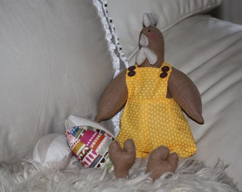 Hen Fabric Doll With 3 Fabric Eggs Handmade One of a Kind Yellow Overalls