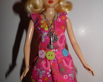 "Handmade OOAK Dress for Barbie Like Dolls ""Peace"" Square Neck Dress"