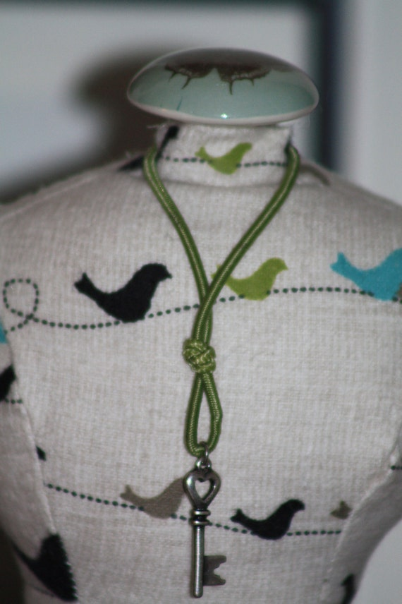Dressmakers Form Pin Cushion Mannequin With Birds and Key/Heart Charm Necklace
