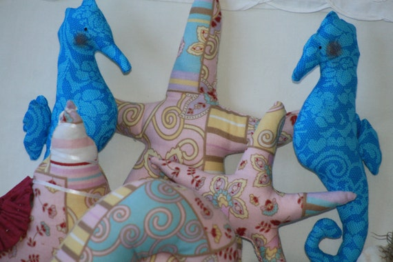 Sale...SEASHELLS, SEAHORSES, and STARFISH Fabric Decorations