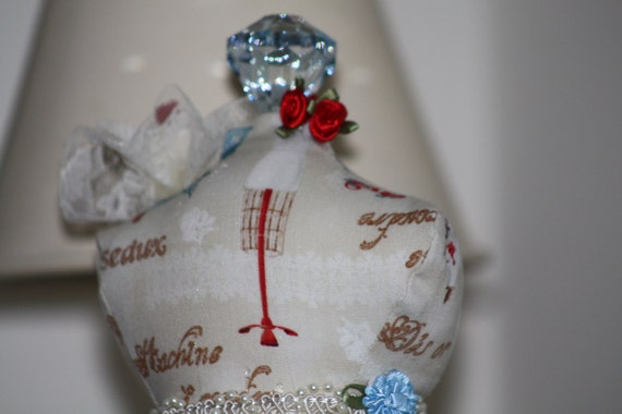 Dressmaker Form Pin Cushion Mannequin Tailors Print Handmade One of a Kind