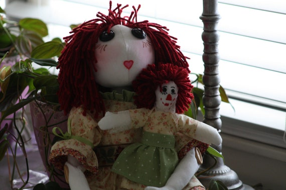 "Handmade OOAK 22"" Rag Doll and 9"" Companion Doll"
