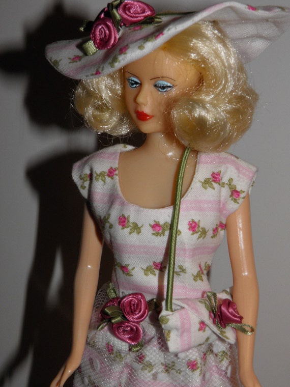 "Handmade OOAK Dress for Barbie Like Dolls ""Roses"" Round Neck Dress Purse Hat"