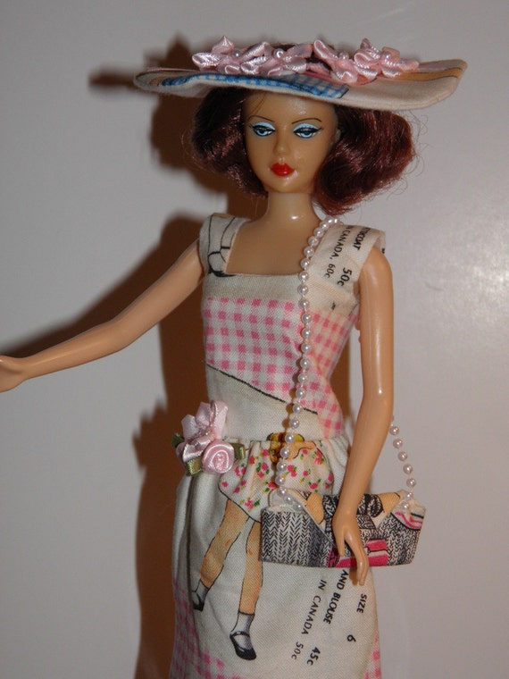 "Handmade OOAK Dress for Barbie Like Dolls ""McCalls Pattern"" Square Neck Dress Purse Hat"