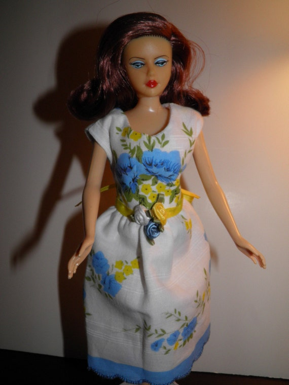 "Handmade OOAK Hankie Dress for Barbie and Barbie Like Dolls ""Roses"" Round Neck Handkerchief Dress"