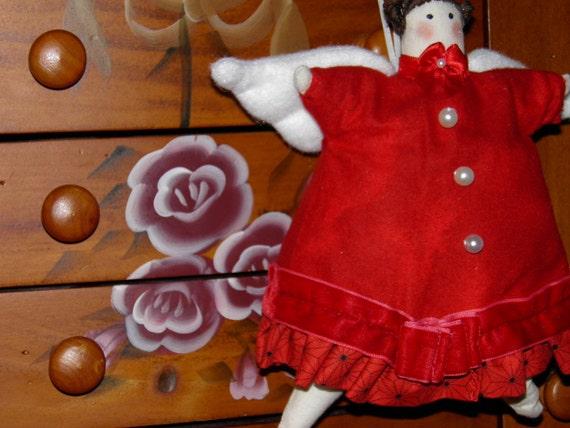 January Birthday Garnet, Valentine, or Christmas Cupcake Angel Fabric Doll Ornament Handmade OOAK