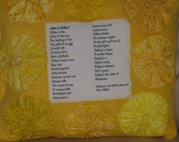 Yellow Pillow Poem What Is Yellow Poetry Book Hailstones and Halibut Bones ONeill Handmade OOAK