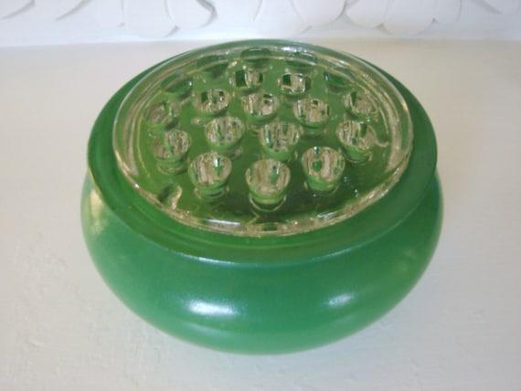 Vintage Green Glass Flower Frog Vase 40s 50s