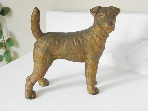 Vintage Cast Iron Hubley Terrier Dog Door Stop