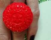 Handmade adjustable red bauble ring