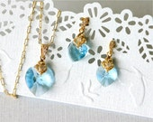 Sale. Swarovski Heart Necklace and Earrings Set, Aquamarine Heart Pendents, Gold-filled Chain, Gold Post Earrings with CZ. S009.