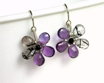 Gemstone Flower Earrings, Brazilian Amethyst and Black Rutilated Quartz Pear Briolettes, Sterling Silver Earwires and Wire. Halloween. E056.