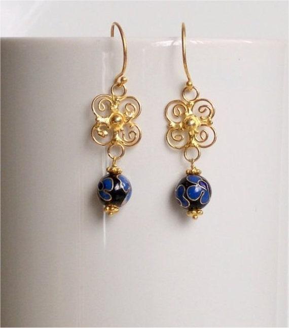 Cloisonne Earrings, Handmade Black Blue Flower Round Cloisonne Beads, Vermeil Filigree Links, Vermeil Earwires. Gift for Her.  E035.