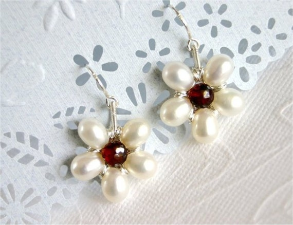June Birthstone. Pearl Flower Earrings, White Teardrop Freshwater Pearls, Garnet Onion, Sterling Silver Earwires and Wire Wrapped. E081