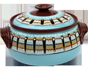 4 qt Baby Blue hand made Pottery Casserole from Bulgaria