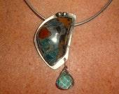 Pietersite Faceted Aquamarine Sterling Silver Pendant