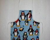 Child's Apron - Penquins Ready for Winter Design