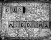 Fine Art Wedding photography Black and white vintage style Colorado map scrabble tile daguerreotype 8x10