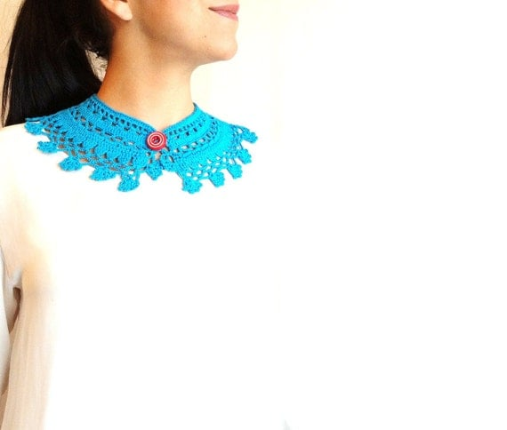 Turquoise Crochet Choker with Vintage Button