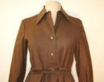 Custom Tailored Brown Wool Shirtdress 1970's-Size S/M