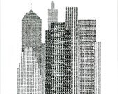 New York Typographic Art Print / handwritten