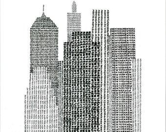 New York Typographic Art Print / handwritten