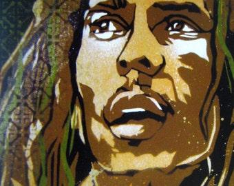 Bob Marley Stencil Art Print