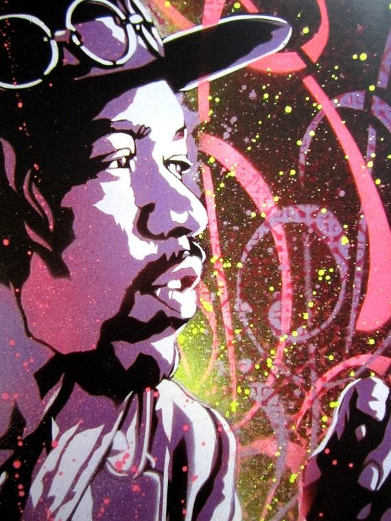 jimi hendrix purple haze stencil art print. Black Bedroom Furniture Sets. Home Design Ideas