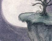 ACEO Original Watercolor Pencil Painting Drawing - Dreag's Moon