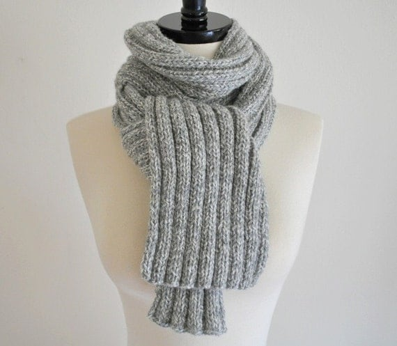 Knitted Light Grey Mixed Color Wool Scarf