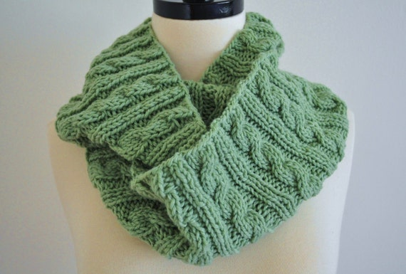 Cable Knitted Infinity Cowl Scarf in Light Green