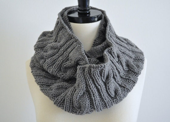 Knitted Grey Infinity Cowl Scarf