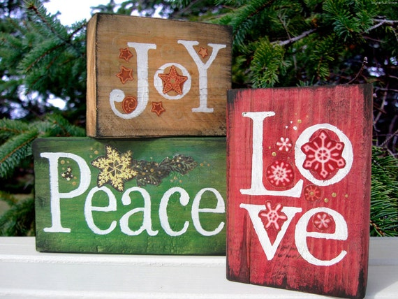 Joy peace love stacking wood blocks for Large wooden blocks for crafts