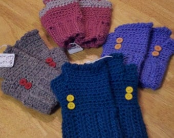 Colorful fingerless mittens, open fingers mittens