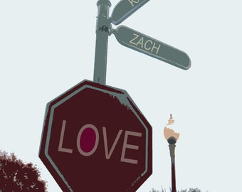 8x10 Fine Art Print of LOVE sign with Couples' Names & Wedding Month and Year