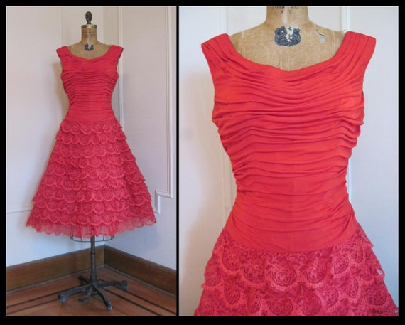Hold for  Cheryl lenehan ... vintage 1950s Red Lace Party Dress m/l