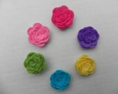 Any 4 New Wool Lapel Flower  with button back approx. 1 inch Pick your colors