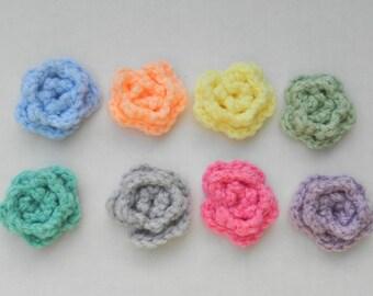 "Crochet  4 - 1 1/2""  Pastel lapel flowers with clip back, crochet flower , hair clips, headband flowers"