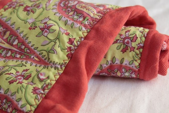 Beautiful Burpers - Amy Butler Love on Cozy Coral Hand Dyed Baby Burp Cloth