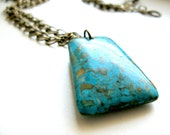 Turquoise Mosaic Pendant Necklace - Speckled Blue, Turquoise