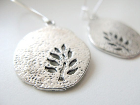 Antique Silver Tree Imprint Disc Earrings - Silver Hammered, Dangle