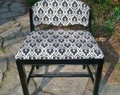 Vintage Wood Chair Art Deco Black and White Fabric