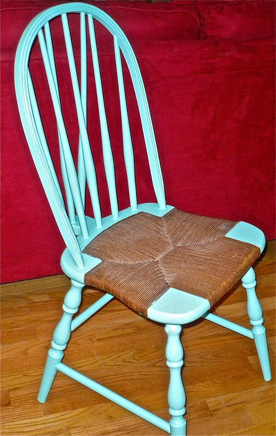 Windsor Chair, Rush Seat Chair, Green Chair, Funky Decor, Eclectic Chair, Unique Furniture, Boho Chair, Bohemian Furniture, Painted Chair