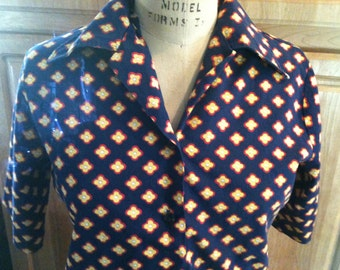 Vintage Dark Blue Blouse with Flowers Sale s33