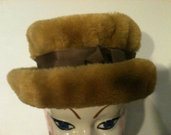 Goldfish Faux Fur Hat Vintage 50s