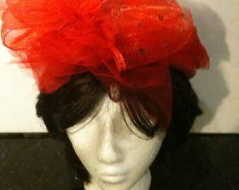Vintage Red Weave Raffia Hat with Red Chiffon and Black Beads Sale