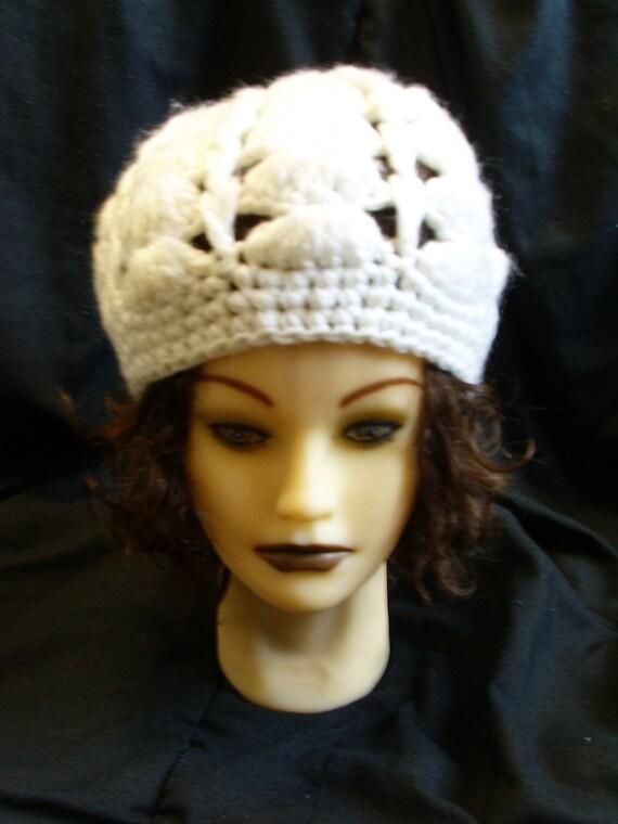 SALE White Vintage Crochet Hat