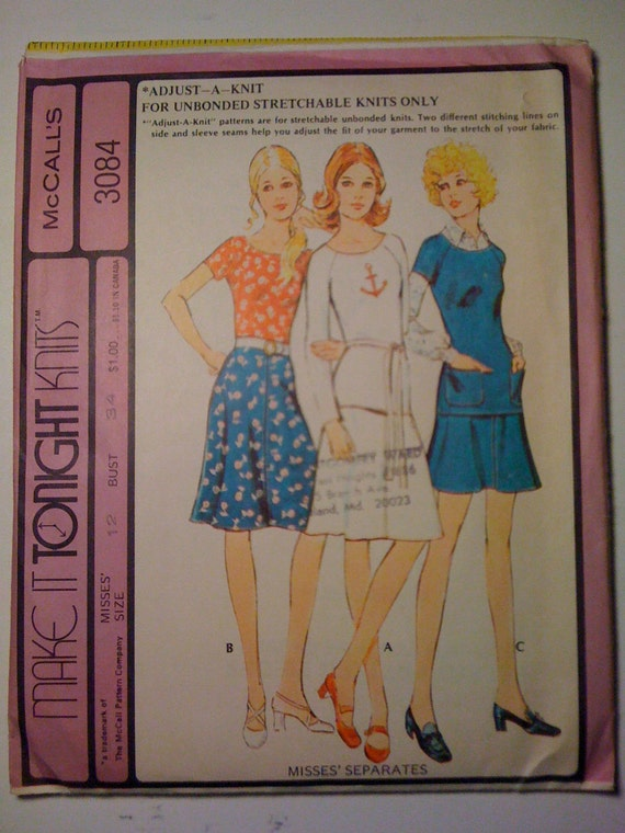 McCalls Sewing Pattern 3084 70s Uncut Misses Size 12 Sale